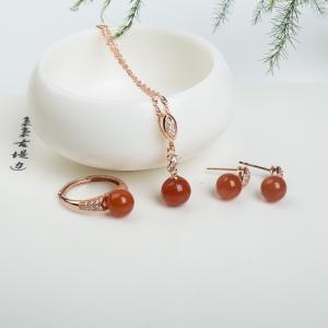 银镶柿子红南红三件套套装