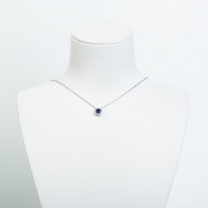 18k皇家蓝蓝宝石刻面项链