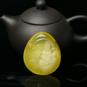柠檬黄蜜蜡观音吊坠