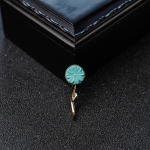 18K金镶中高瓷蓝绿松石花两用款