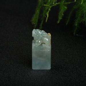 糯冰种俏色翡翠貔貅印章