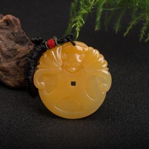 山料橙黄黄龙玉福在眼前吊坠
