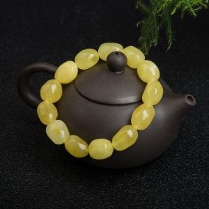 雞油黃蜜蠟隨形單圈手串