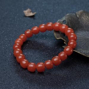 樱桃红南红桶珠单圈手串