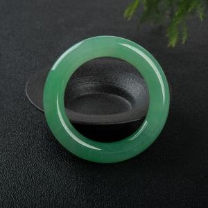 55.5mm糯冰种阳绿翡翠圆镯
