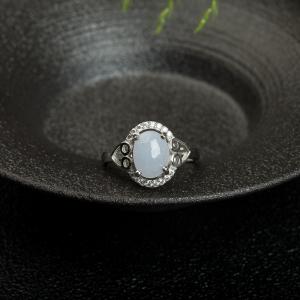 銀鑲糯種淺紫色翡翠戒指