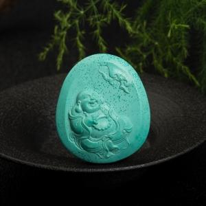 高瓷蓝绿绿松石弥勒佛吊坠