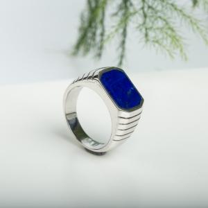 银镶蓝色青金石戒指