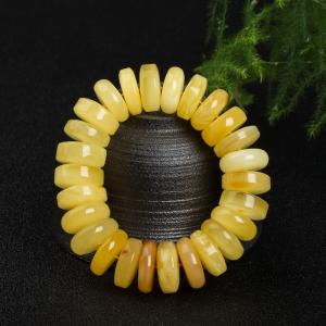 柠檬黄蜜蜡轮胎珠单圈手串