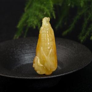 鸡油黄蜜蜡多子多福吊坠