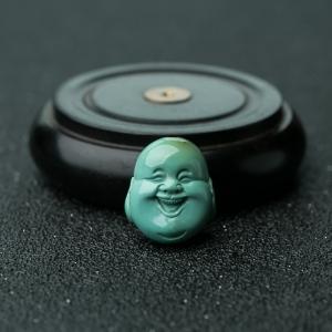 高瓷蓝绿绿松石佛头配珠