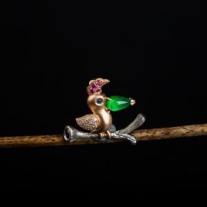 18k冰种阳绿翡翠一枝独秀吊坠