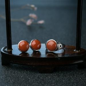银镶柿子红南红套装(两件)