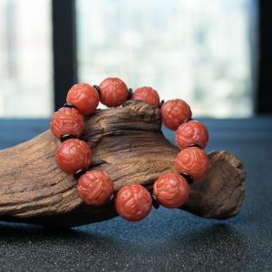 18mm柿子紅南紅貔貅珠手串