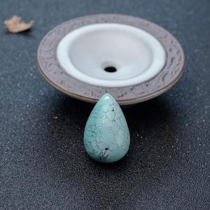 高瓷乌兰浅蓝绿松石水滴吊坠