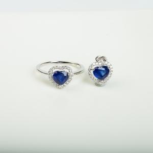 18K皇家蓝蓝宝石刻面套装