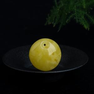 柠檬黄蜜蜡平安扣吊坠