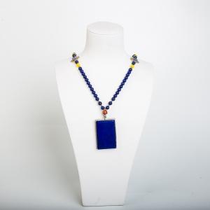 银镶紫蓝色青金石项链