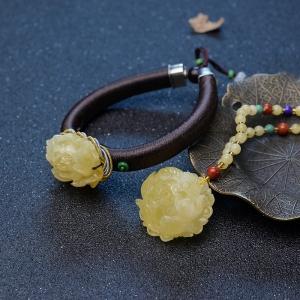 淺黃蜜蠟牡丹花套裝(兩件)