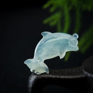 冰种飘花翡翠海豚吊坠