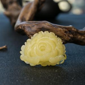 柠檬黄蜜蜡花吊坠