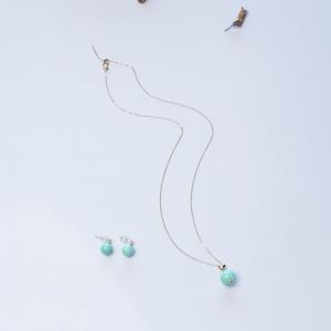 18K中高瓷浅蓝绿松石套装(两件)