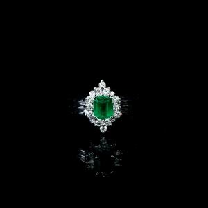 18K蓝绿祖母绿戒指