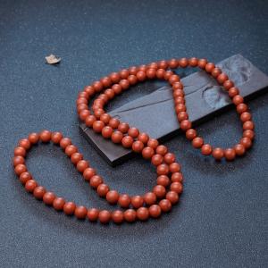11mm柿子紅南紅108佛珠