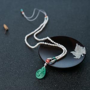 中高瓷蓝绿松石年年有余项链
