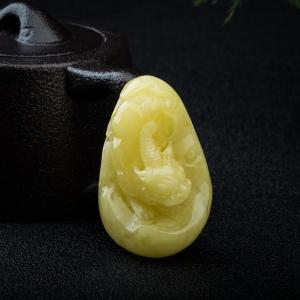 柠檬黄蜜蜡貔貅吊坠