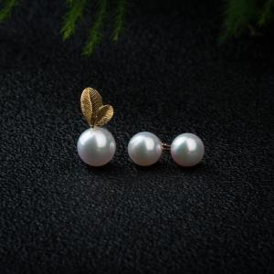 18K珍珠吊坠耳钉套装