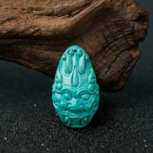 中高瓷蓝绿松石兽面吊坠