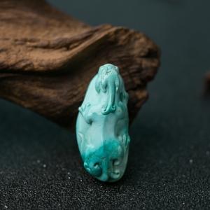 中高瓷蓝绿松石貔貅吊坠
