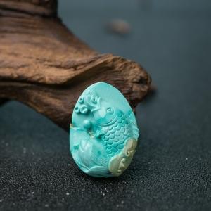 中高瓷蓝绿松石连年有余吊坠