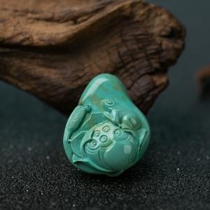 中高瓷蓝绿松石连生贵子吊坠