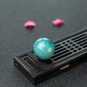 24.7mm中瓷铁线蓝绿绿松石圆珠