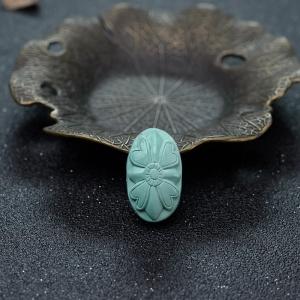 中高瓷蓝绿绿松石背云