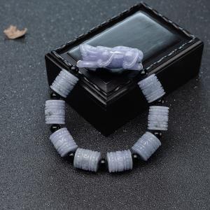 糯種紫羅蘭翡翠桶珠貔貅單圈手串