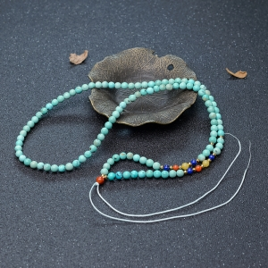 5.3mm中高瓷铁线蓝绿松石配链