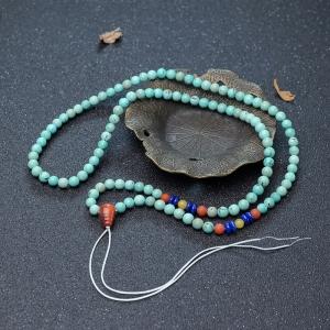6mm中高瓷铁线蓝绿松石配链