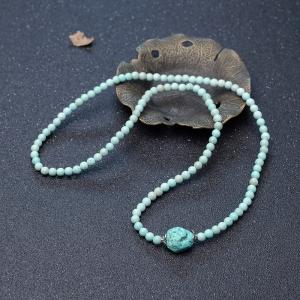 5mm中瓷铁线浅蓝绿松石配链