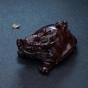 半星鸡血红小叶紫檀龙龟摆件