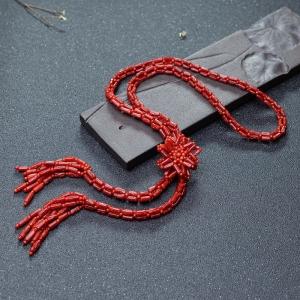沙丁牛血红珊瑚毛衣链