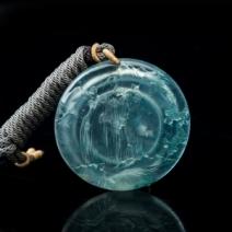 玻璃种飘花翡翠山水吊坠