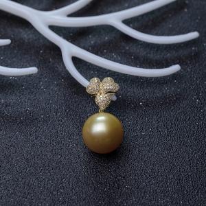 18K金色珍珠吊墜