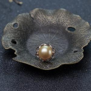 18K金色珍珠戒指