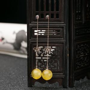 18K雞油黃蜜蠟圓珠耳墜