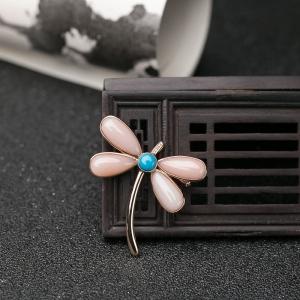 18K深水珊瑚蜻蜓吊坠