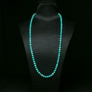 6mm中高瓷铁线蓝绿松石珠链