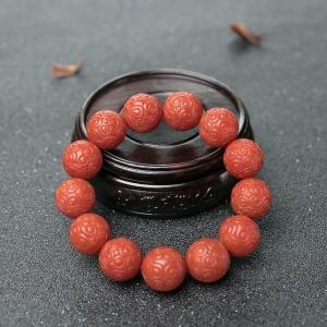 16mm柿子红南红回纹珠单圈手串